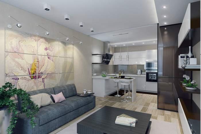 Дизайн гостиной после совмещения с кухней