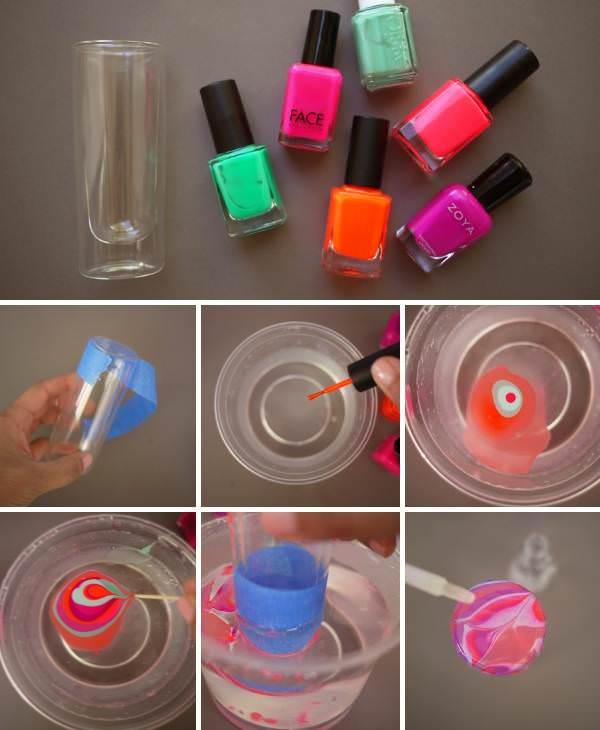 Порядок декорирования стекла под эффект мрамора с помощью лака для ногтей