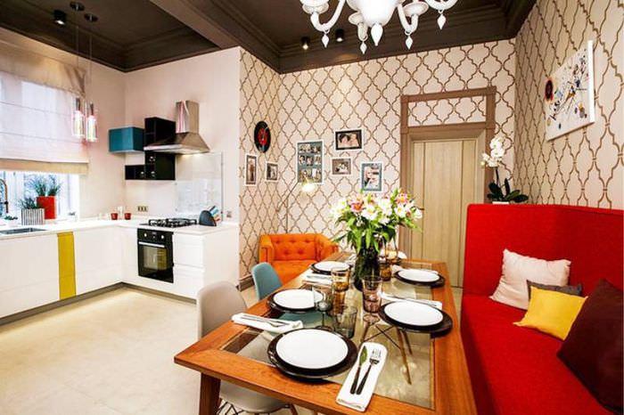 Комфортная обеденная зона в кухне гостиной 20 кв метров