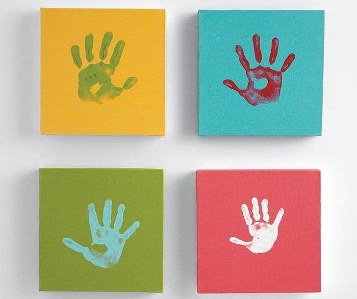 Модульная картина с отпечатками своих рук