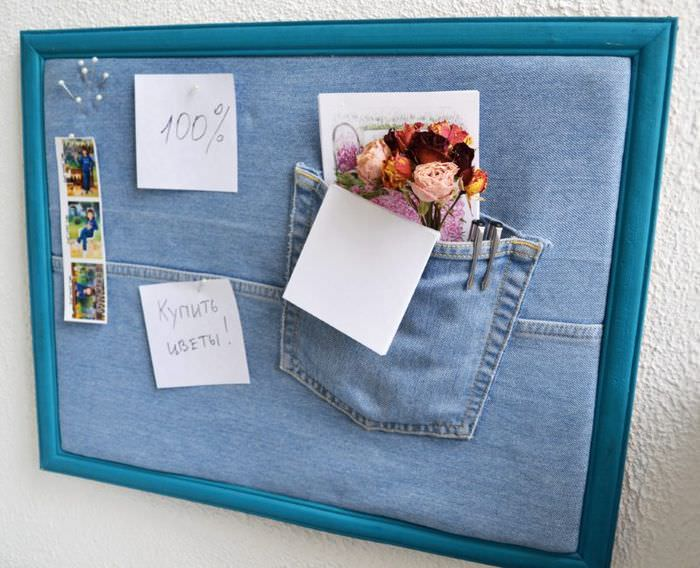 Декоративное панно из ненужных джинсов