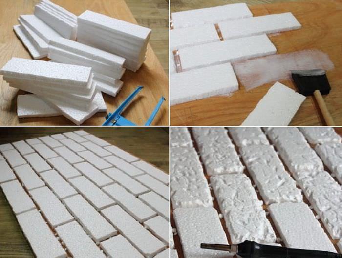 Процесс изготовления пенопластовых кирпичиков своими руками