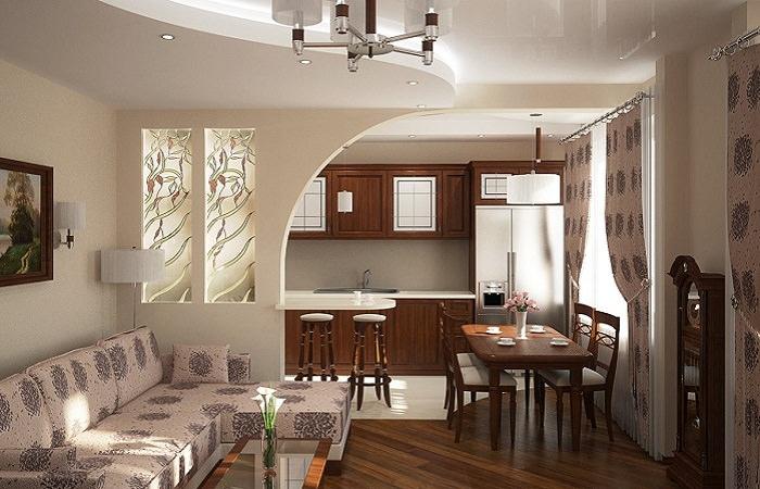 Легкая перегородка из гипсокартона в интерьере кухни-гостиной 20 квадратов