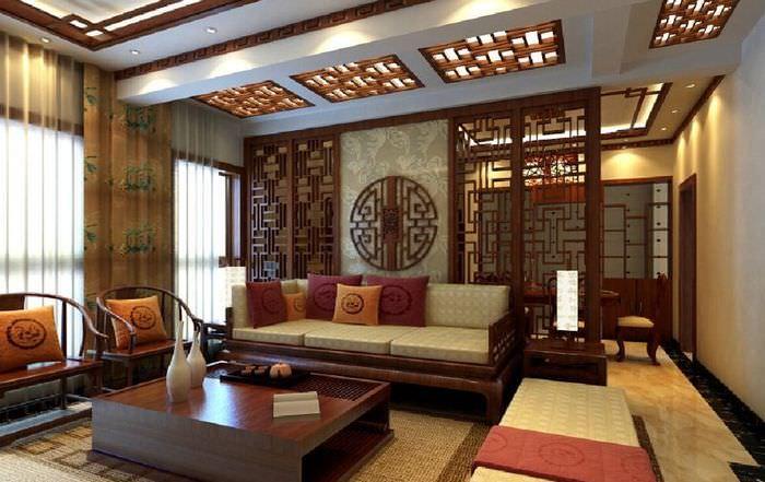 Перегородка между кухней и гостиной в китайском стиле