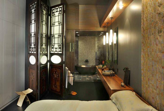 Перегородка ширма между ванной и спальней