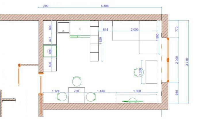 План кухни-гостиной площадью 20 квадратных метров