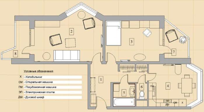 План-схема типовой распашонки в доме серии 44т