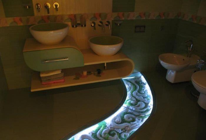 Декоративная подсветка пола в интерьере ванной комнаты