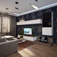 Подвесные мебельные секции в интерьере кухни-гостиной