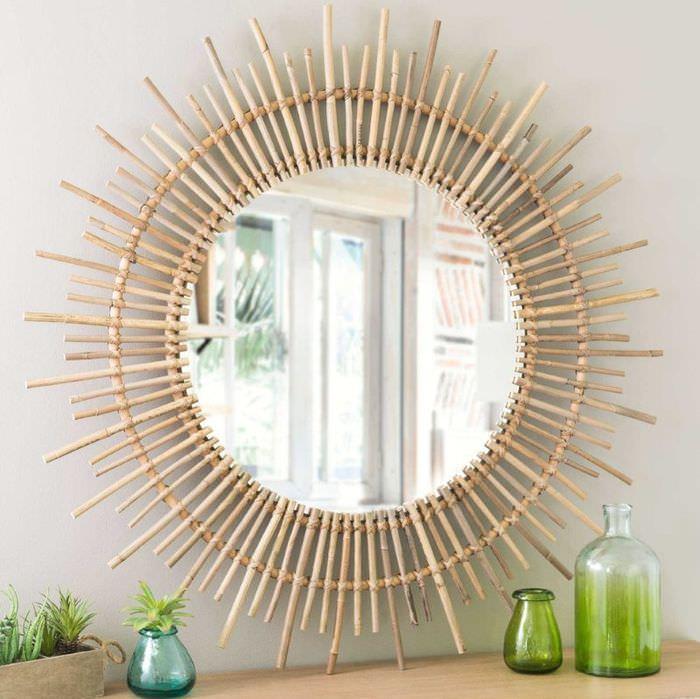 Декорирования зеркала бамбуком своими руками