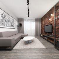 Серый диван в гостиной стиля лофт