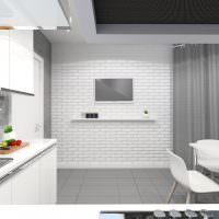 Телевизор на кирпичной стене кухни