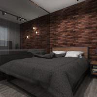 Темное покрывало на кровати в спальне стиля лофт