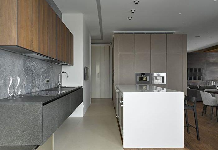 Дизайн современной кухни в серых тонах