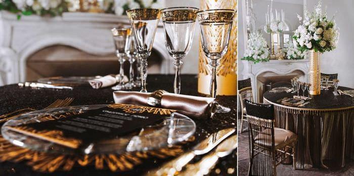 Роскошный стол в стиле арт-деко с букетом цветов