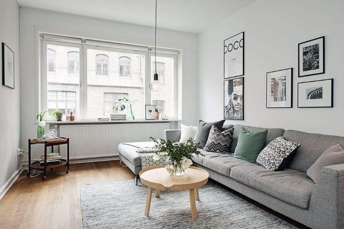 Интерьер светлой гостиной в скандинавском стиле