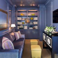 Дизайн небольшой гостиной в синих тонах