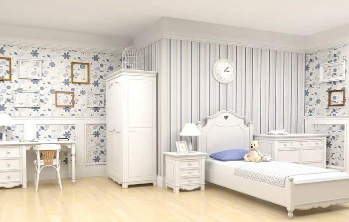 Светлые обои в интерьере детской комнаты