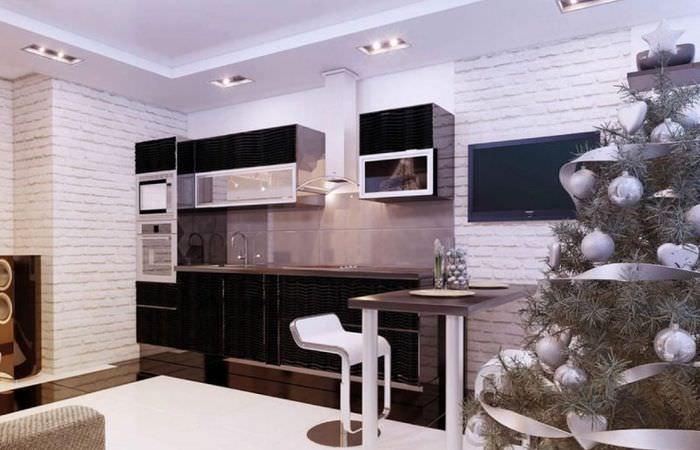 Оформление рабочей зоны в кухне-гостиной