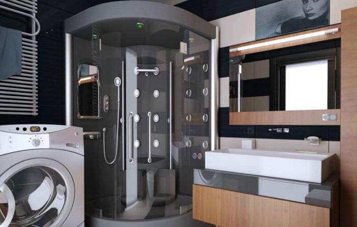 Дизайн ванной комнаты с комфортной душевой кабиной