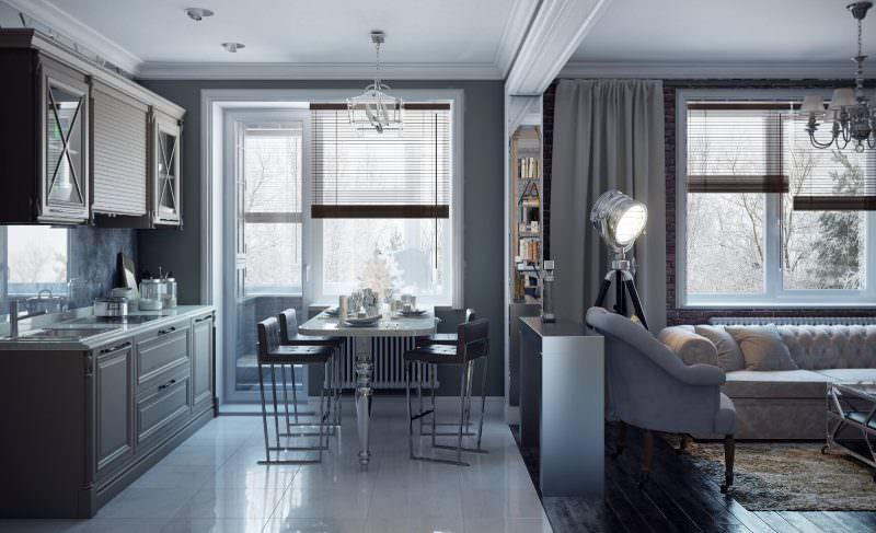 Интерьер кухни-гостиной в двухкомнатной квартире 44т распашонка