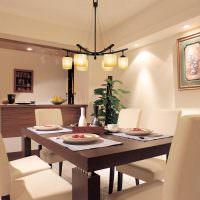 дизайн обеденной зоны на кухне-гостиной