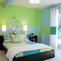 Салатовый цвет в интерьере спальни