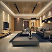 Комбинированное освещение в дизайне гостиной