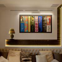 Декоративная подсветка панно на стене гостиной