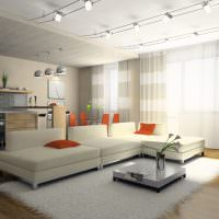 Софиты на белом потолке гостиной
