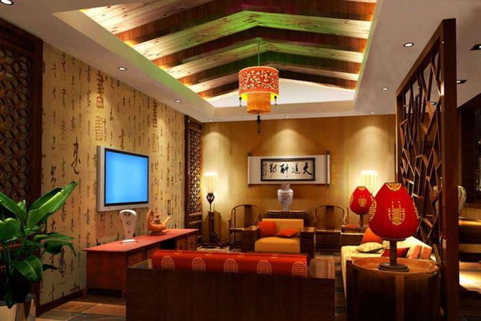 Освещение в гостиной китайского стиля