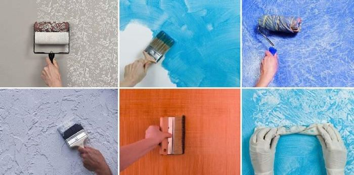 Способы текстурной покраски стен