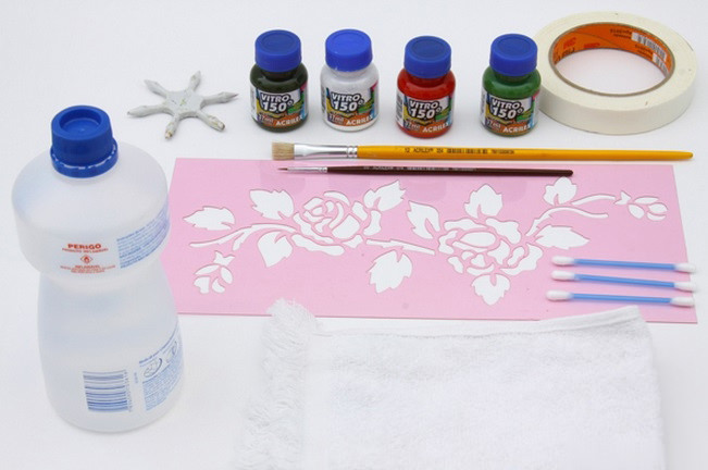 Материалы для трафаретной росписи по зеркалу