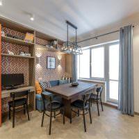 Дизайн обеденной зоны с деревянным столом