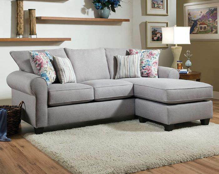 Кровать-диван серого цвета в собранном состоянии
