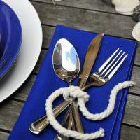 Украшение стола в морской тематике