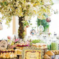 Стол с угощениями для гостей на день рождения