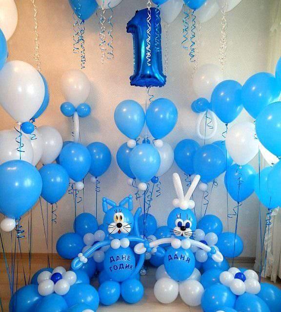 Украшение комнаты воздушными шарами на годик мальчику