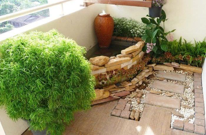 Оформление балкона квартиры-студии в стиле японского сада