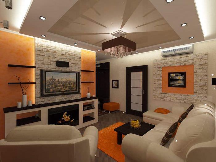 Дизайн гостиной в двушке кирпичного дома