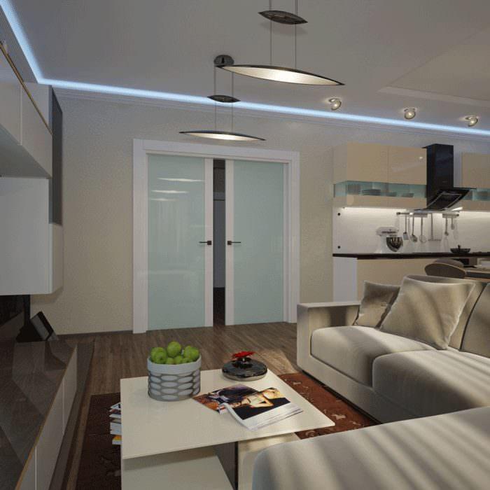Раздвижные двери в кухне-гостиной стиля хай-тек