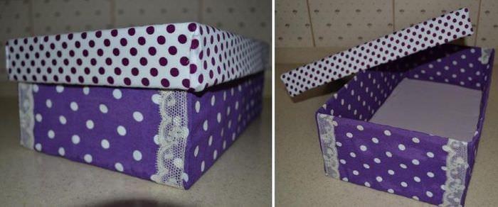 Красивая коробка из-под обуви после украшения своими руками