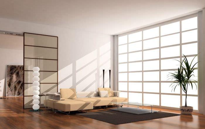 Интерьер гостиной в стиле восточного минимализма