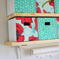 Деревянные полки для картонных коробок