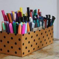 Коробка в черный горошек для карандашей и ручек