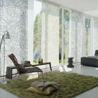 Японские шторы серого цвета на панорамном окне