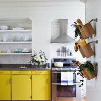 Желтый цвет в оформлении кухни