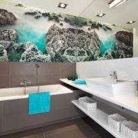 Дизайн ванной с фотообоями на стене