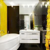 Акценты желтого цвета в современной ванной