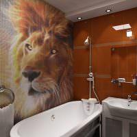 Изображение льва на мозаике в ванной комнате